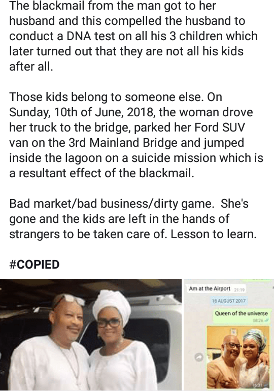 """""""Am alive"""" woman alleged to have jumped into the lagoon beneath 3rd Mainland Bridge refutes rumors"""