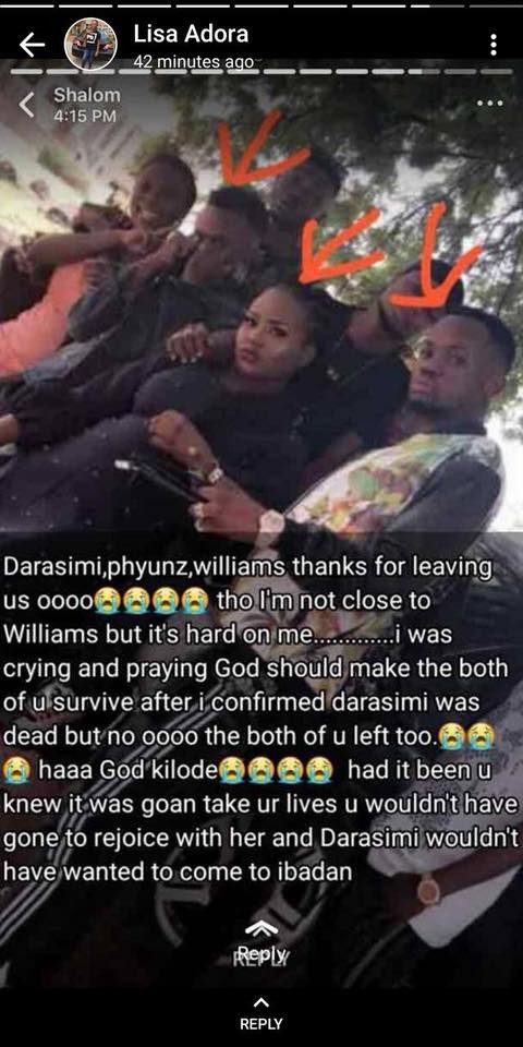 200level FUNAAB student and two others die in car accident in Oyo State on their way from a friend?s graduation thanksgiving (Photos)