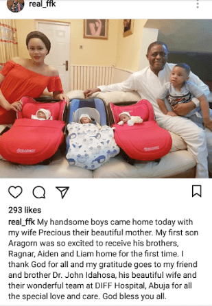 Femi Fani Kayode shares adorable photo of his family including his triplets as they return from hospital