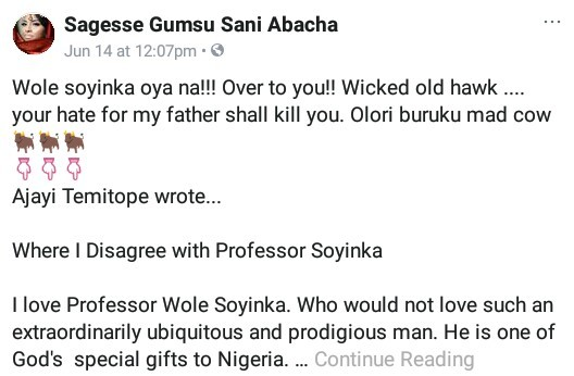"""Your hate for my father shall kill you"" - Gumsu Abacha slams Wole Soyinka"