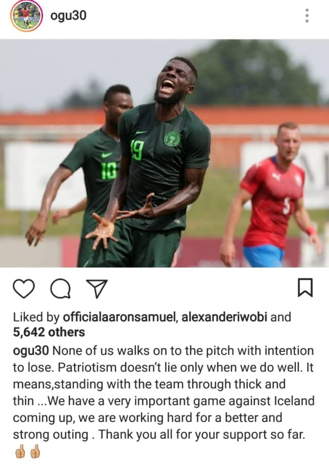 Super Eagles John Ogu replies angry Nigerian who says he should go off social media and concentrate on winning next match