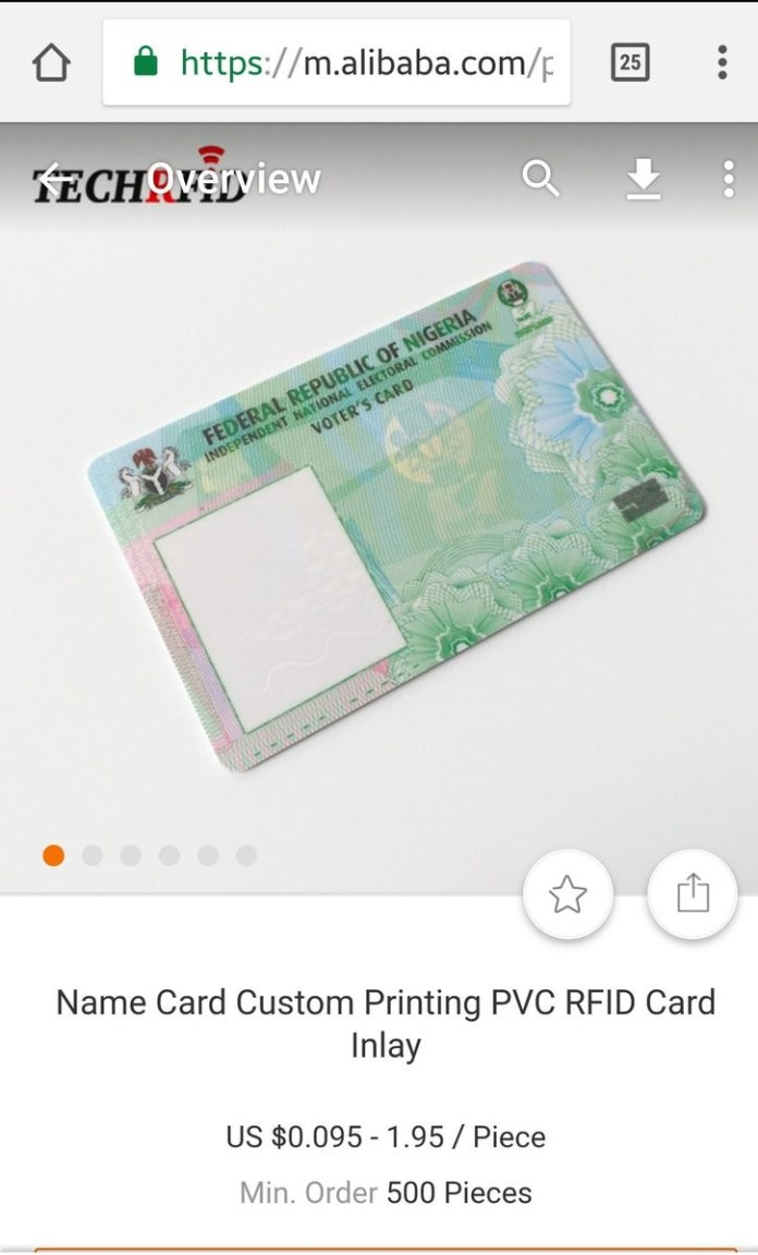 Man shares photos of Nigerian PVC being sold on foreign website