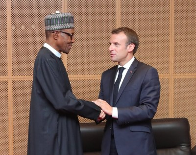 Photos: President Buhari meets French president Emmanuel Macron in Mauaritania