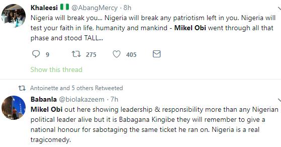 Nigerians applaud Mike Obi for playing Argentina match despite his father