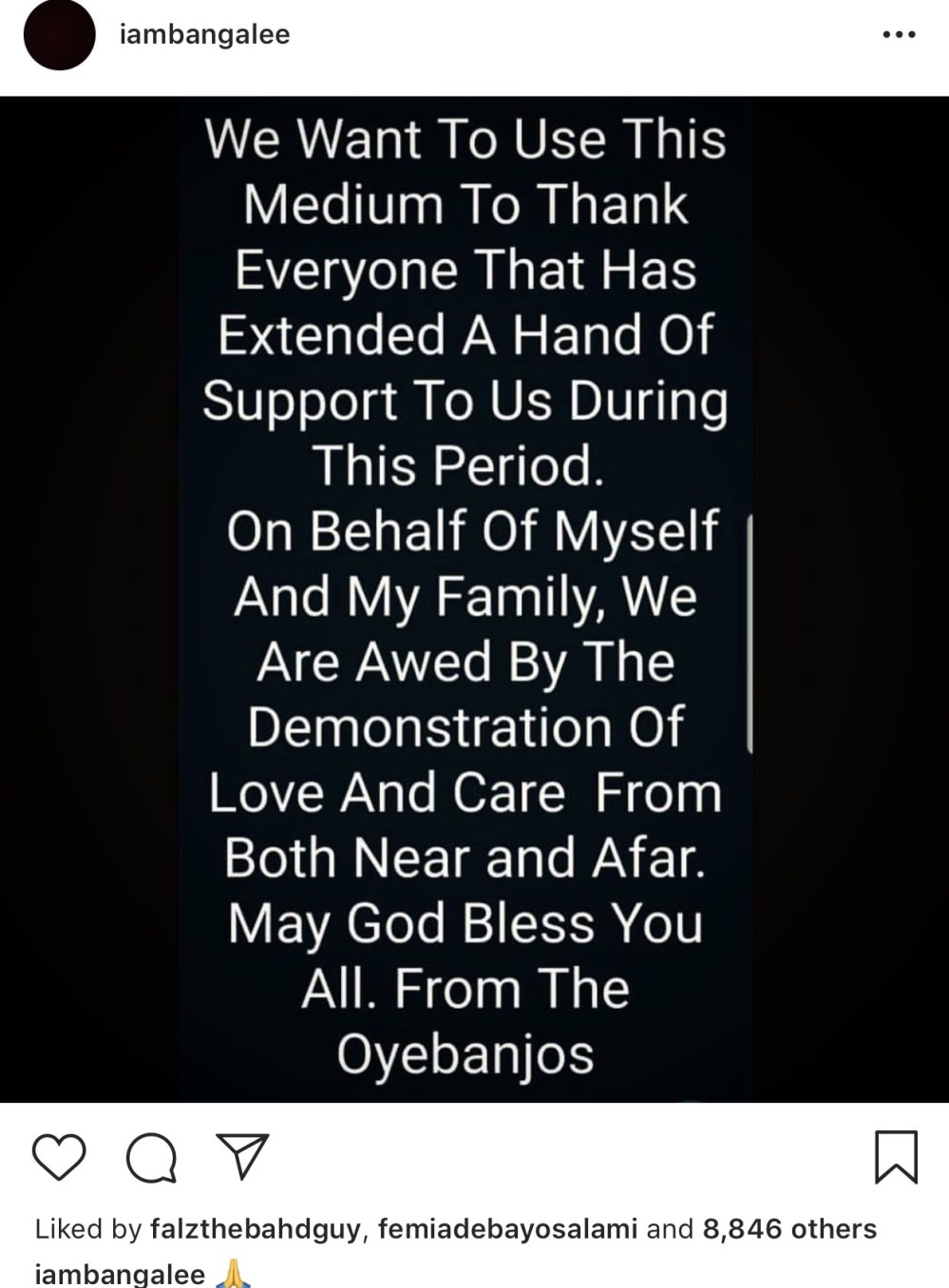 DBanj thanks everyone for extending support towards his family as they grieve the loss of his son