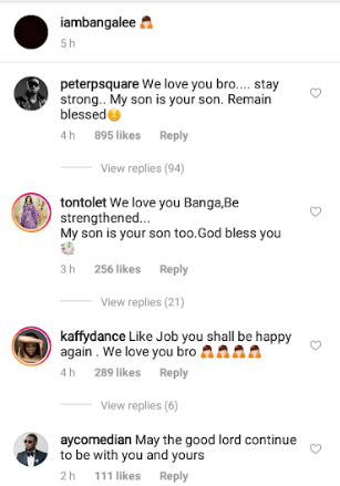 """""""My son is your son"""" Peter Okoye and Tonto Dikeh tell Dbanj as they console him for the loss of his son and social media users call them out for being """"insensitive"""""""