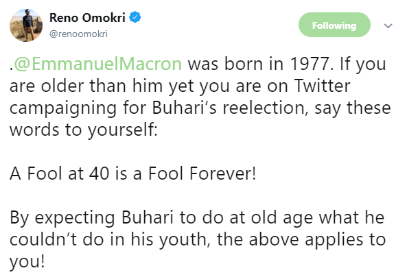 Choi! Reno Omokri trolls Nigerians who are above 40 campaigning for President Buhari