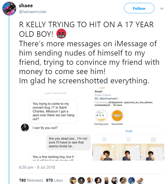 R. Kelly allegedly caught hitting on a 17-year-old boy and sending nudes to him (see receipts)