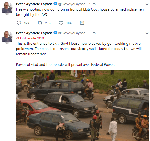 Governor Fayose says heavy shooting is going on in front of his office right now
