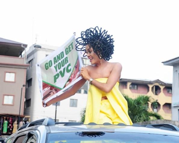 N40million hair model, Chika Lann?s PVC campaign causes stir at Balogun Market