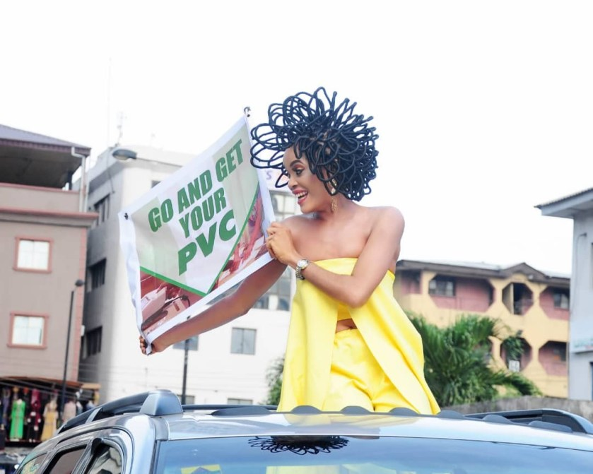 N40million hair model, Chika Lann?s PVC campaign causes stir at Balogun Market