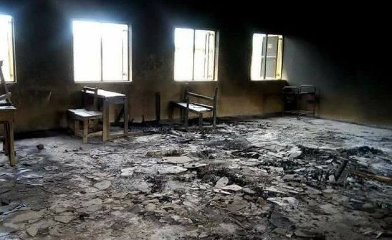 Photos: Hoodlums burn down two school renovated by Dino Melaye