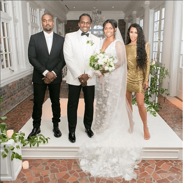 Photos of Kanye West and Kim Kardashian at the wedding of rapper Pusha T and his longtime love Virginia Williams?