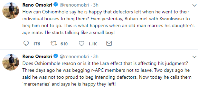 This Reno Omokri sef...lol...see what he said about Adams Oshiomole on twitter