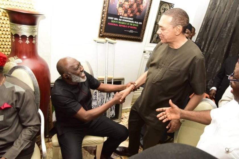 Photos: Dino Melaye, Ben Bruce, Godswill Akpabio, Olisa Metuh, others visit deputy senate president Ike Ekweremadu at his home