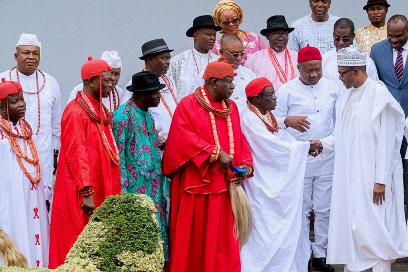 Photos: President Buhari hosts Isoko traditional rulers in the state house