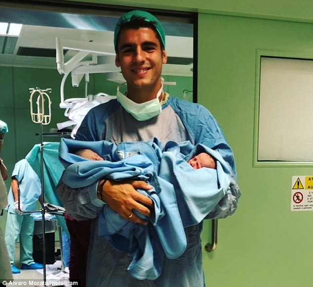 Chelsea striker Alvaro Morata shares touching message as he welcomes twins with wife Alice Campello?(Photos)