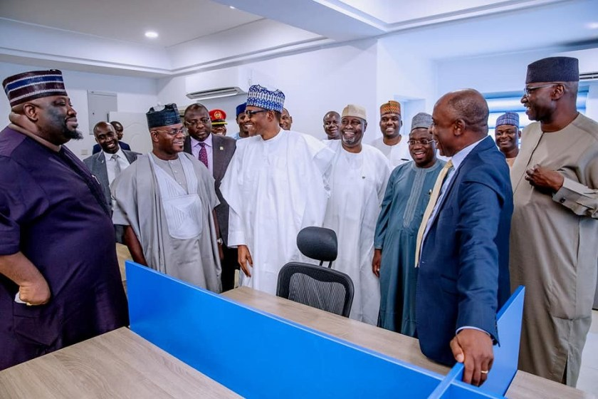 Photos: President Buhari inspects renovation works at the proposed Buhari-Osinbajo Campaign Office in Abuja