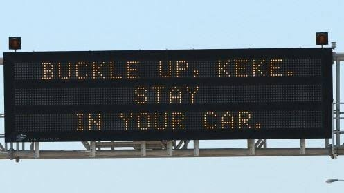 """""""Buckle up Keke, stay in your car"""" highway sign reads amid viral #InMyFeelings Challenge"""