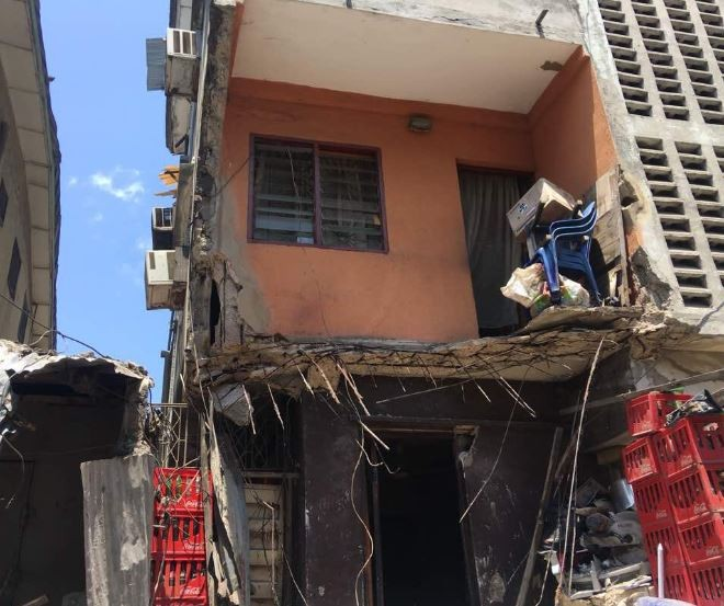 Photos: No lives lost as two storey building collapses?building in Lagos Island