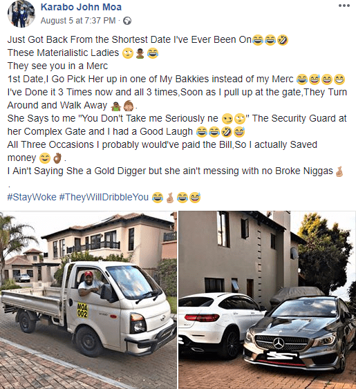 Rich South African man reveals what happened when he went to pick up a date with his truck instead of his Benz
