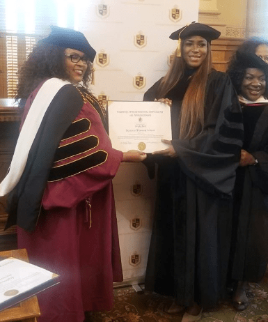Photos of Linda Ikeji receiving her Honorary Doctorate degree from Trinity International University in Georgia
