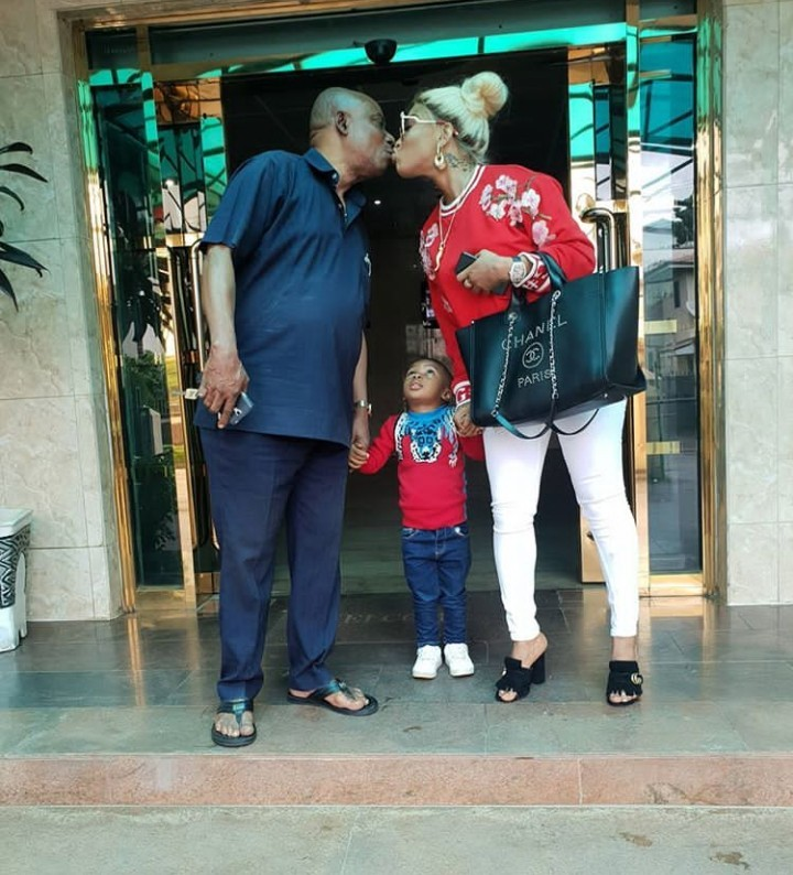 Tonto Dikeh and her daddy kiss on the mouth