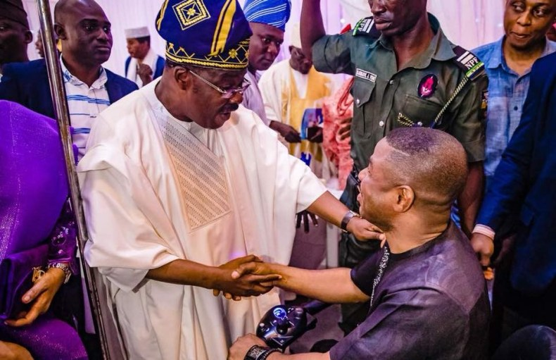 Governor Ajimobi and Yinka Ayefele all smiles at Olubadan of Ibadan