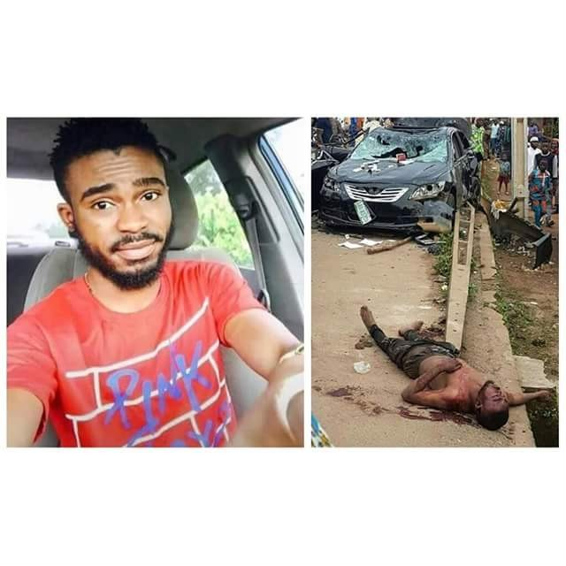 Photos: Final year student beaten to death by angry mob after he hit and killed five people with his car in Osun State
