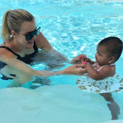 Khloe Kardashian and Tristan Thompson take their daughter True for her first swimming lesson (Photos)