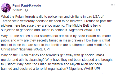 FFK reacts to the killing of three policemen by suspected herdsmen in Taraba state