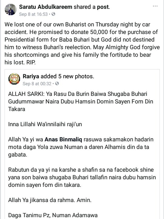 Young man killed in auto crash two days after he promised to donate N50,000 for purchase of President Buhari