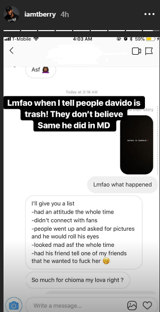 U.S.-based Nigerian photographer slams Davido and shares screenshots of his friend