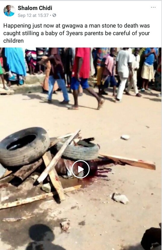 Video: Suspected kidnapper stoned to death in Abuja for stealing 3-year-old child