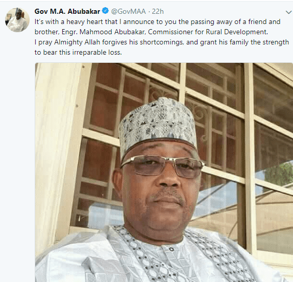 Commissioner for Rural development in Bauchi state,  Mahmood Abubakar, has died