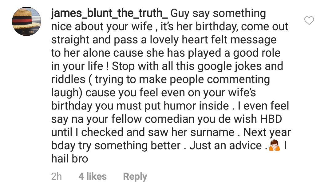 Bovi comes hard on IG user who criticized birthday message to his wife