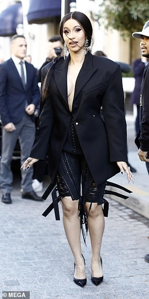 See the risque outfit Cardi B wrote at Mugler PFW show (Photos)