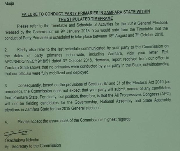 Oshiomhole replies INEC, says Zamfara APC will field candidates in 2019