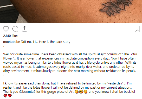 """Moet Abebe gets an 11th tattoo with the words """"yesterday will not define me"""" and shares the story behind it"""