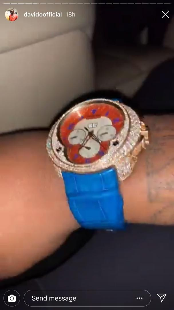 Davido shows off diamond encrusted wristwatch as he flies on a private jet with girlfriend Chioma
