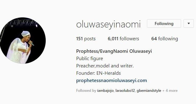 5bc99f30675e3 - Ooni of Ife's new bride, Prophetess Naomi Oluwaseyi's Instagram followers doubles and too much traffic crashes her website
