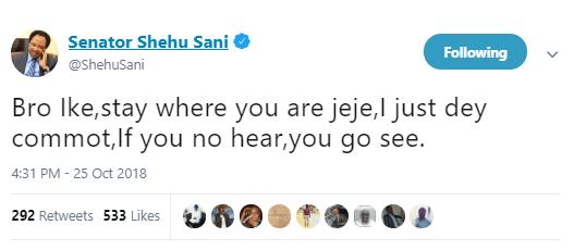 """""""Stay where you are jeje"""" - Shehu Sani advices Senator Ike Ekweremadu not to decamp to APC"""