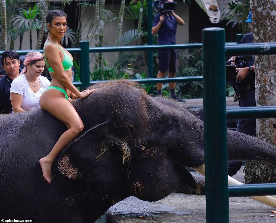 Photos of Bikini-clad Kim and Kourtney Kardashian riding an elephant in Bali (Photos)