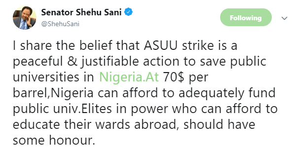 Shehu Sani says ASUU  strike is justifiable