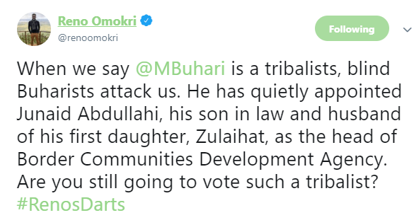 Reno Omokri reacts after President Buhari appoints son-in-law as head of Border Agency