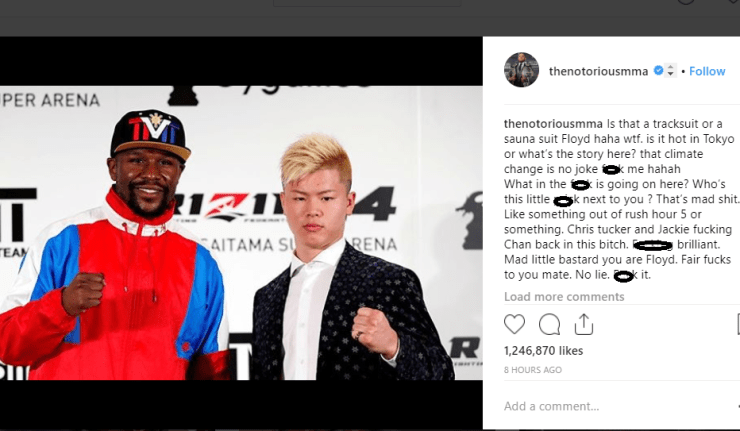 Conor McGregor throws shade at Floyd Mayweather for picking a 20-year-old kickboxer for his next fight?