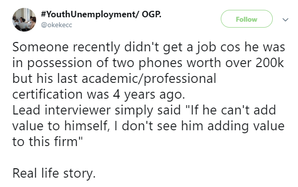Twitter stories: Job applicant loses job opportunity after his interviewers spotted him with two phones..