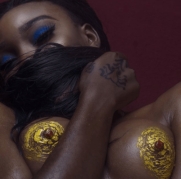 Nigerian porn star, Savage Trap Queen, flashes her nipples in new photo