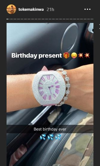 Toke Makinwa shows off her?Franck Muller ?Infinity