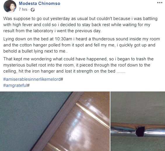 Woman narrowly escapes being hit by a stray bullet which pierced her roof and entered her room
